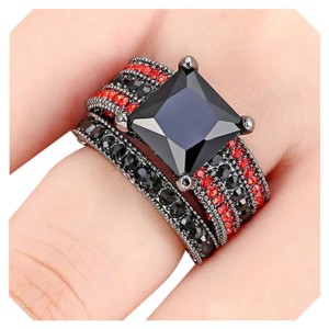 6.8CT 2PC Wedding Ring Set Red and Black Sapphire Black Gold Filled