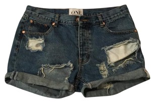 One Teaspoon Cuffed Shorts Blue