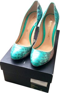 Alberto Moretti Python Patent Leather Glitter Silver Green Pumps
