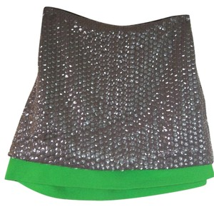Diane von Furstenberg Mini Sequin Neon Night Out Holiday Mini Skirt Grey and Green