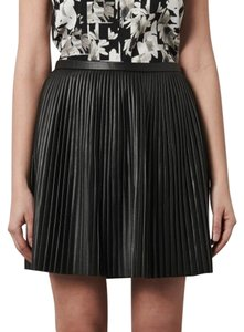 Tibi Pleated Leather Skirt Black