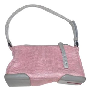 Prada Chrome Hardware Excellent Vintage Rubber Bottom Perfect First Petite But Roomy Satchel in grey leather & pale pink nylon