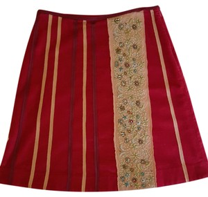Anthropologie Party Holiday Beaded Velvet Skirt Raspberry