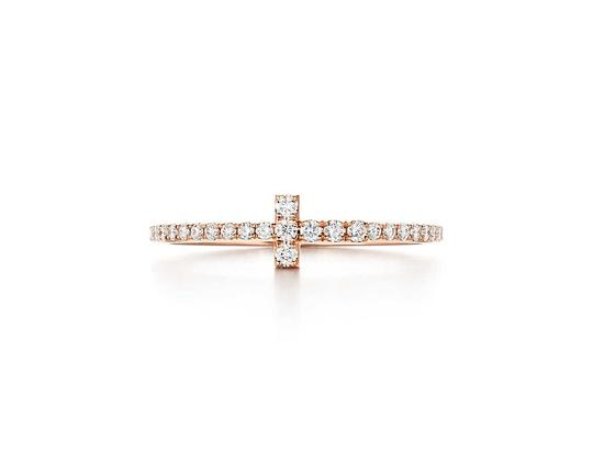 Tiffany & Co. 18k GOLD DIAMOND TIFFANY T RING