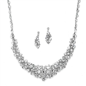 Mariell Silver Sparkling Statement Necklace with Square Crystal Accents 4182s Jewelry Set