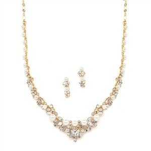 Mariell Elegant Gold Wedding Necklace Set With Crystals & Pearl Cluster 4183s-g
