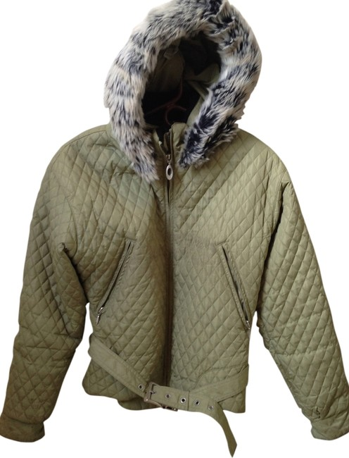 Obermeyer Quilted Faux Fur Belted Hooded Coat
