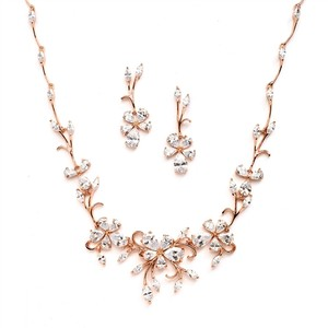 Mariell Rose Gold Elegant Vine Cz Necklace and Earrings 4233s-rg Jewelry Set