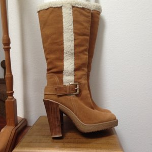 Michael Kors Suede Gold Buckle Knee-high Tan Camel Boots
