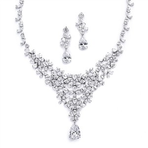 Mariell Red Carpet Pear Cz Wedding Or Pageant Statement Necklace Set 4377s-s