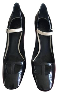 Tory Burch Mary Jane Chunky Wood Black with cream strap Pumps