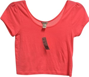 Forever 21 Pink Coral Neon Knit Crop Crop 21 Hot Hot Pink Spring Summer T Shirt neon coral