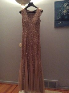 Aidan Mattox Rose Quartz/blush Sequined Gown With Chiffon Godets Dress