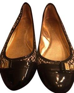 Coach Black & White Tweed/Patent Leather Flats