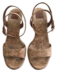 Tory Burch Wedge Cork with gold specks Wedges