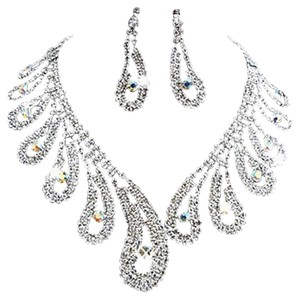Bridal Crystal and Rhinestone Necklace Earrings, Multiple Sets