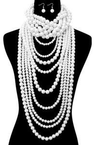 Other Chunky White Pearl Choker Necklace And Earrings Set