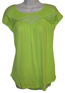 Vince Camuto Lace Trim Cap Sleeve Top Bright Green