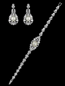 Stunning Pearl And Cz Earrings And Matching Bracelet Set