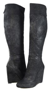 Badgley Mischka Leather Wedge Boot Black Boots