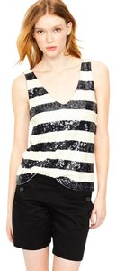 J.Crew Sequin Nautical Striped Top Navy Ivory