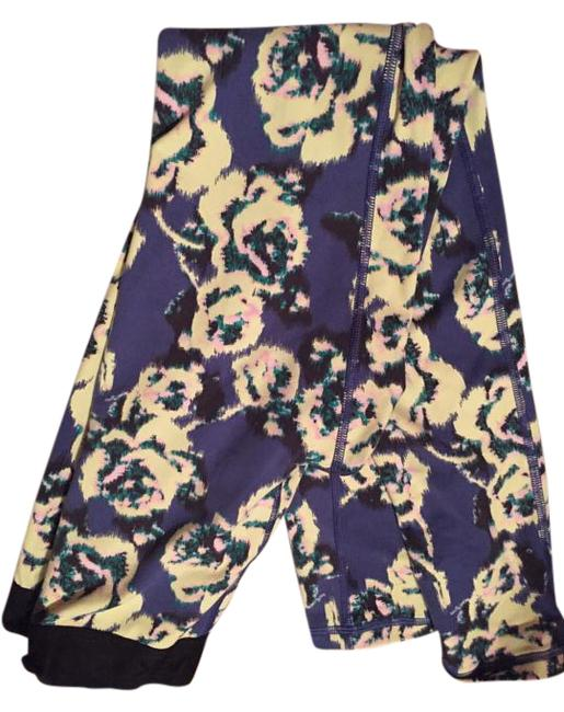 Item - Blue Yellow Flower Workout Tights Activewear Bottoms Size 6 (S, 28)
