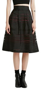Forever 21 Tea Length Brand New Skirt Black/Wine