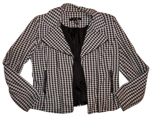 89th & Madison Houndstooth Print Faux Pockets Black, White Blazer