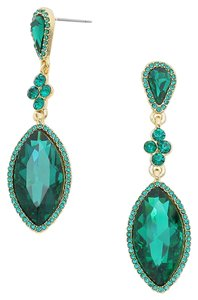 Emerald Green Emerald Rhinestone Crystal Earrings