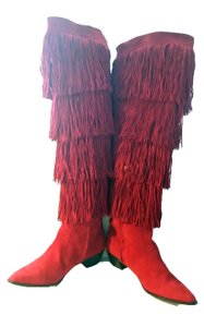 Brian Atwood Suede Over Knee Fringe Red Boots