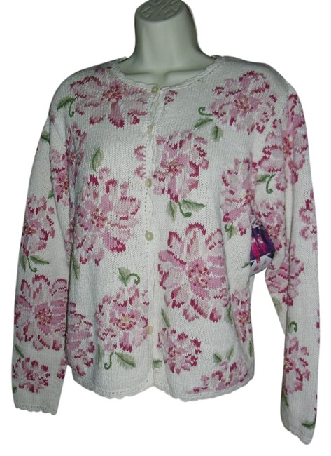 Preload https://img-static.tradesy.com/item/19844681/talbots-rose-pink-green-floral-knit-ombre-fuschia-flower-knit-cardigan-size-14-l-0-1-650-650.jpg