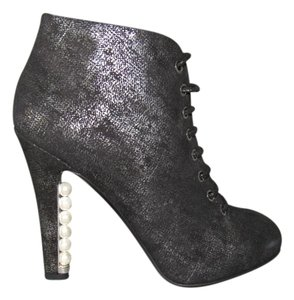 Chanel Ankle Leather Classic Pearl Heel Black Shimmer Suede Boots