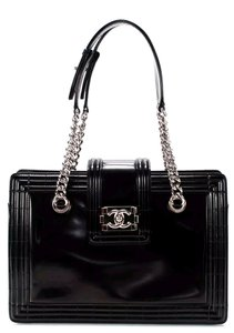 Chanel Jetsetter Boy Tote Patent Leather Shoulder Bag