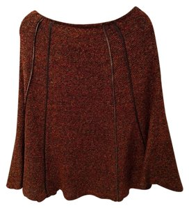 Coldwater Creek Fall Colors Knee Length Skirt Brown, Red