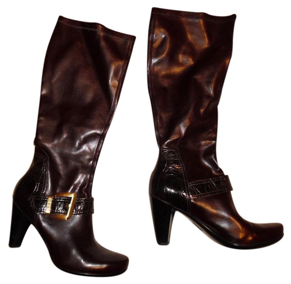 Franco Stretchy Sarto Dark Brown Pull-on Stretchy Franco Faux Leather Stacked Boots/Booties 937074