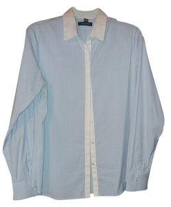 Lands' End Shirt Collar Button Down Shirt Blue and white