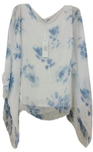 Dolce Ragazza 100% Silk Made In Italy Top Blue/white