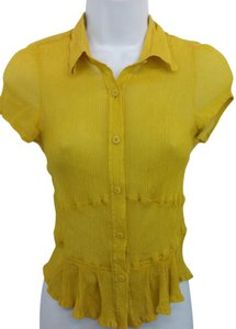 Emanuel Ungaro Yellow Blouse Button Down Shirt