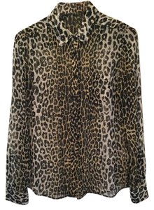 Equipment Top black and brown leopard print