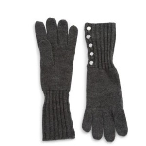 Michael Kors NWT MICHAEL KORS KNIT BUTTON GLOVES DERBY GREY ONE SIZE