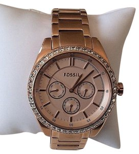 Fossil Fossil Womens Crystal Bezel Stainless Rose Gold Chrono Date Watch Bq1436