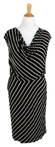 Calvin Klein Knit Blouson Striped Draped Cowl Stretch Dress
