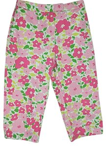 Liz Claiborne Lizsport Pants Floral Pink Green White Size 6 Capris Multi-Color