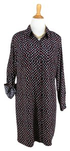 Ann Taylor Nautical Polka Dot Silky Patriotic Shirt Dress