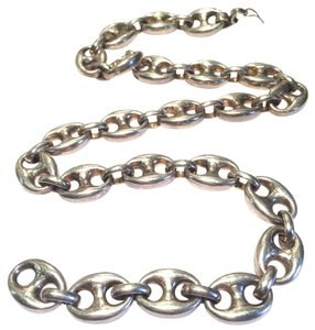 HANDSOME STERLING SILVER ITALIAN VINTAGE MARINE LINK NECKLACE