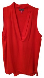 Vince Camuto Sleeveless Flowy V-neck Top red