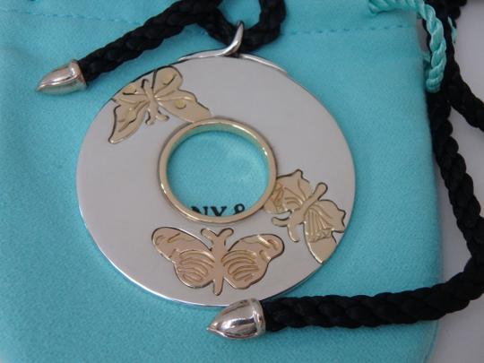Tiffany & Co. sterling silver and 18k gold round pendant with silk cord Image 3