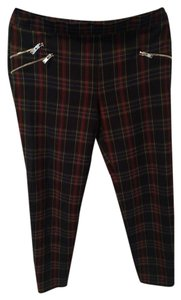 Zara Plaid Ankle Zipper Detail Skinny Pants Navy, Multi