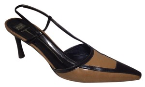 Anne Klein Slingback Two Tone Piping Autumn Spectator Brown and Tan Pumps