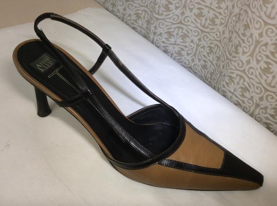 Anne Klein Slingback Two Tone Piping Autumn Spectator Brown and Tan Pumps Image 1